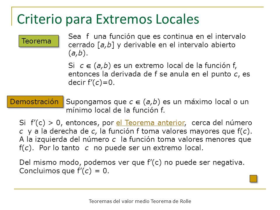 Criterio para Extremos Locales