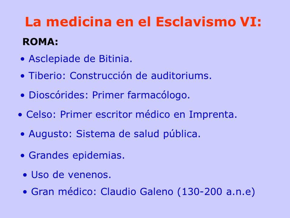 La medicina en el Esclavismo VI: