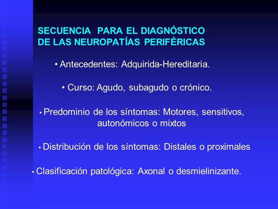 SECUENCIA PARA EL DIAGNÓSTICO DE LAS NEUROPATÍAS PERIFÉRICAS