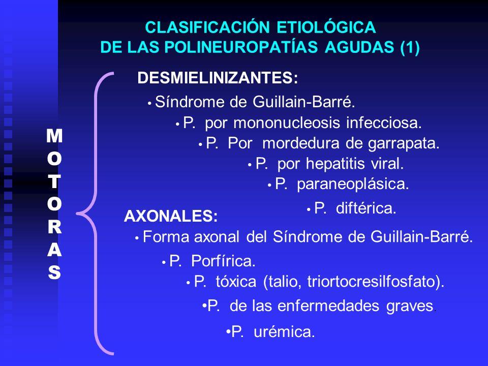 CLASIFICACIÓN ETIOLÓGICA DE LAS POLINEUROPATÍAS AGUDAS (1)