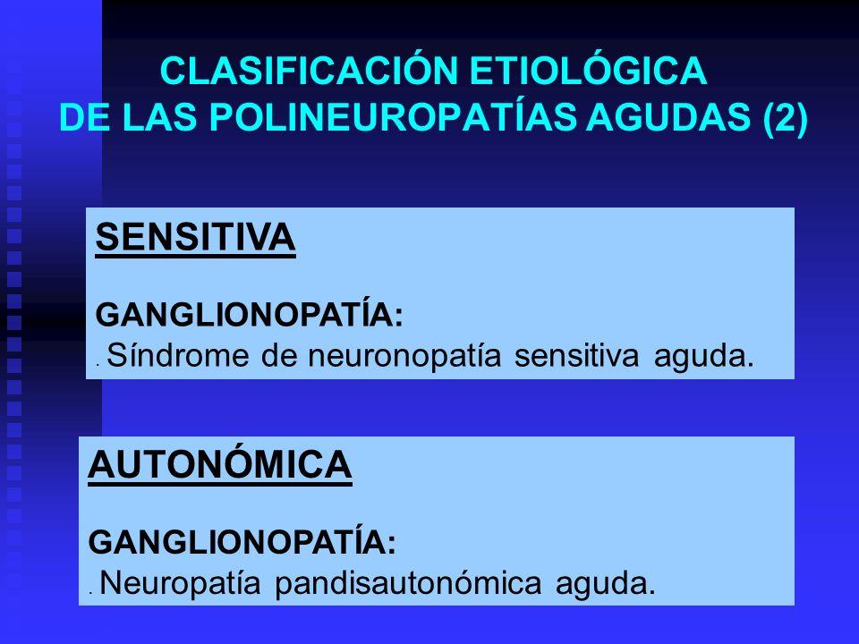 CLASIFICACIÓN ETIOLÓGICA DE LAS POLINEUROPATÍAS AGUDAS (2)