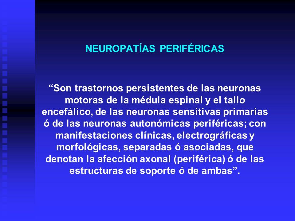 NEUROPATÍAS PERIFÉRICAS Son trastornos persistentes de las neuronas motoras de la médula espinal y el tallo encefálico, de las neuronas sensitivas primarias ó de las neuronas autonómicas periféricas; con manifestaciones clínicas, electrográficas y morfológicas, separadas ó asociadas, que denotan la afección axonal (periférica) ó de las estructuras de soporte ó de ambas .