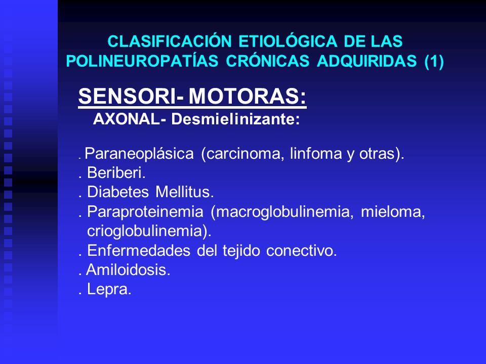 CLASIFICACIÓN ETIOLÓGICA DE LAS POLINEUROPATÍAS CRÓNICAS ADQUIRIDAS (1)