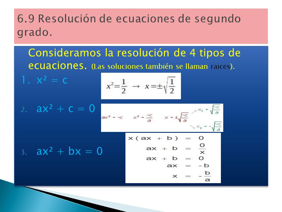6.9 Resolución de ecuaciones de segundo grado.