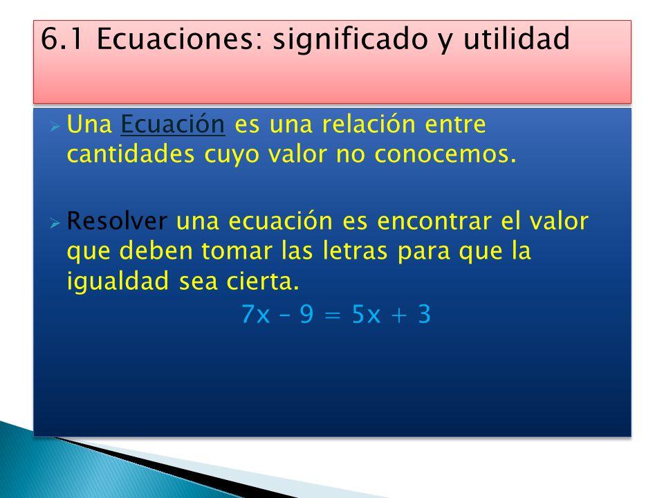 6.1 Ecuaciones: significado y utilidad