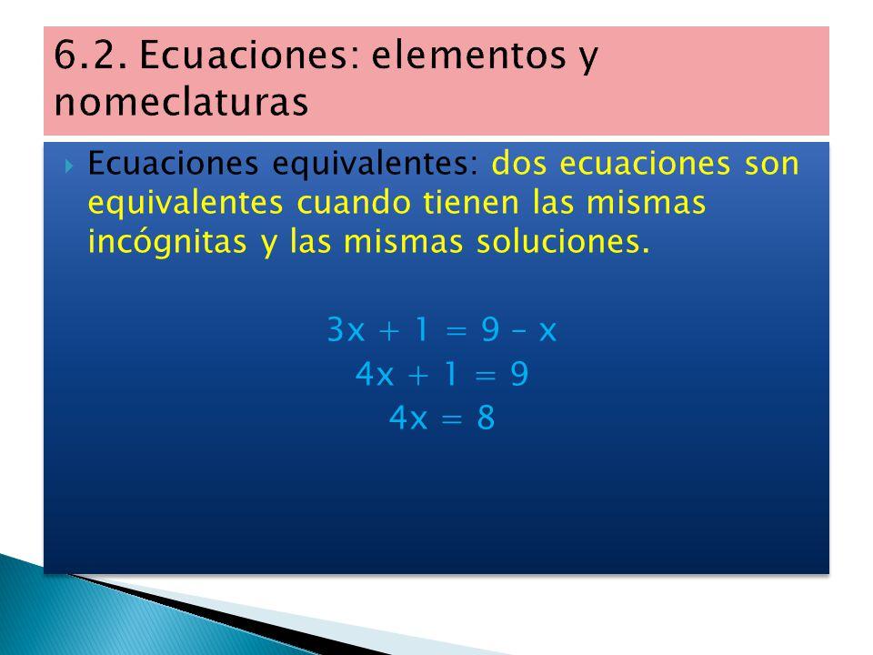 6.2. Ecuaciones: elementos y nomeclaturas