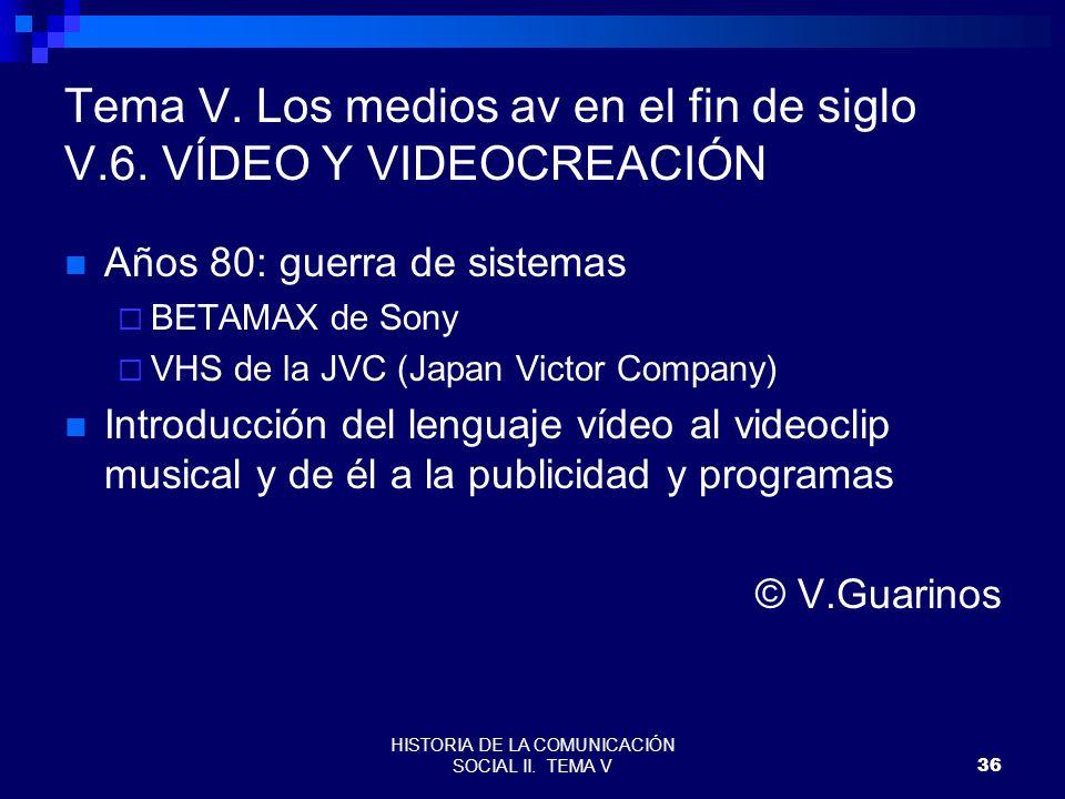 Tema V. Los medios av en el fin de siglo V.6. VÍDEO Y VIDEOCREACIÓN