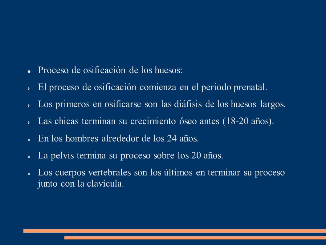 Proceso de osificación de los huesos: