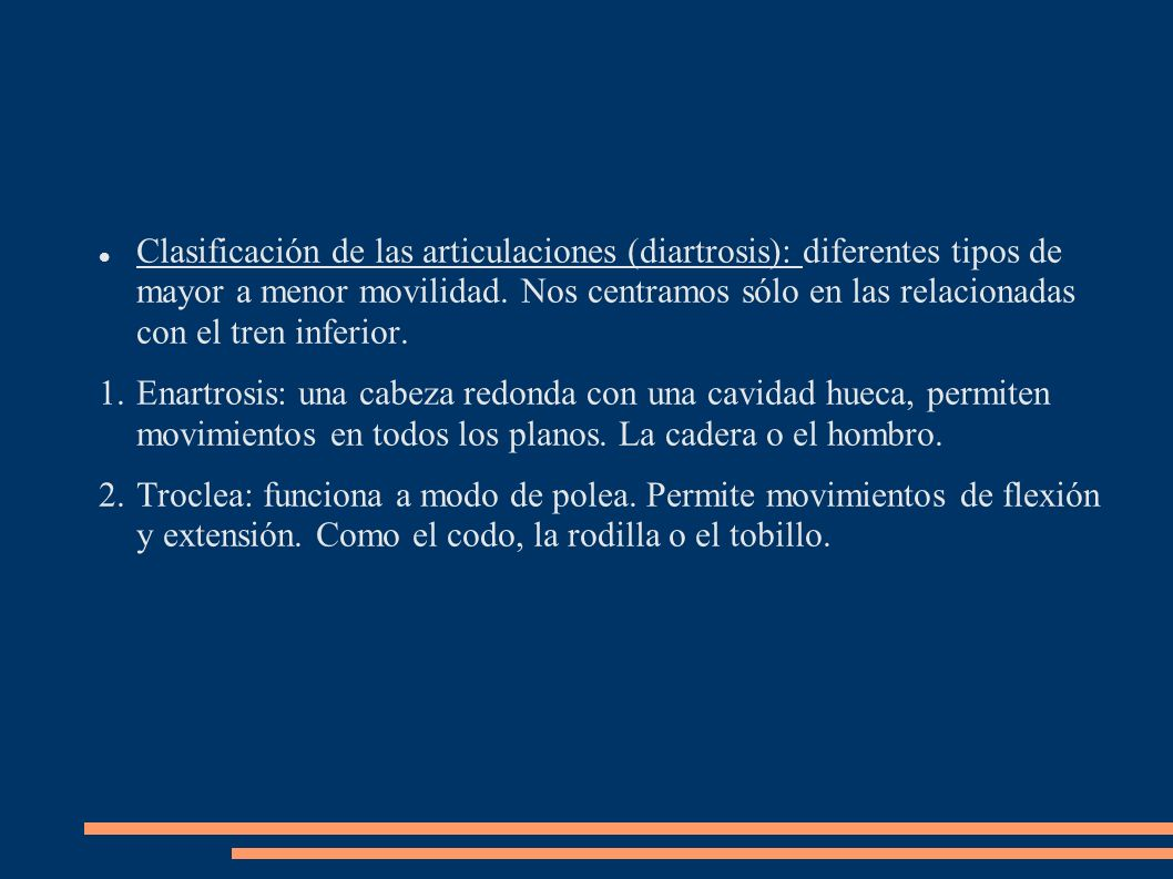 Clasificación de las articulaciones (diartrosis): diferentes tipos de mayor a menor movilidad. Nos centramos sólo en las relacionadas con el tren inferior.