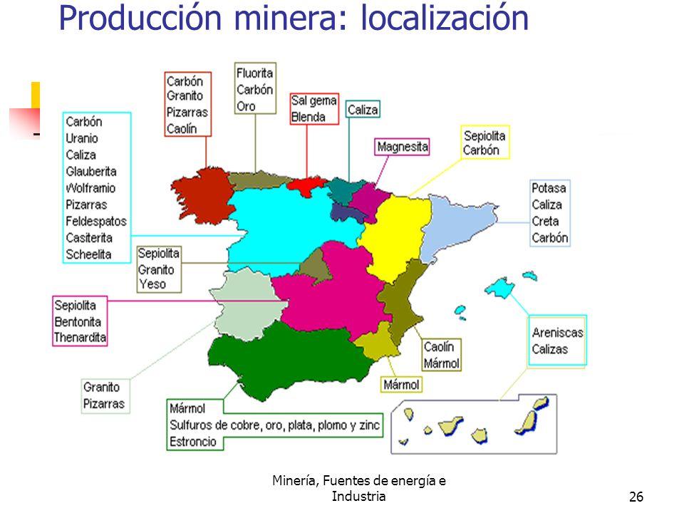 Producción minera: localización