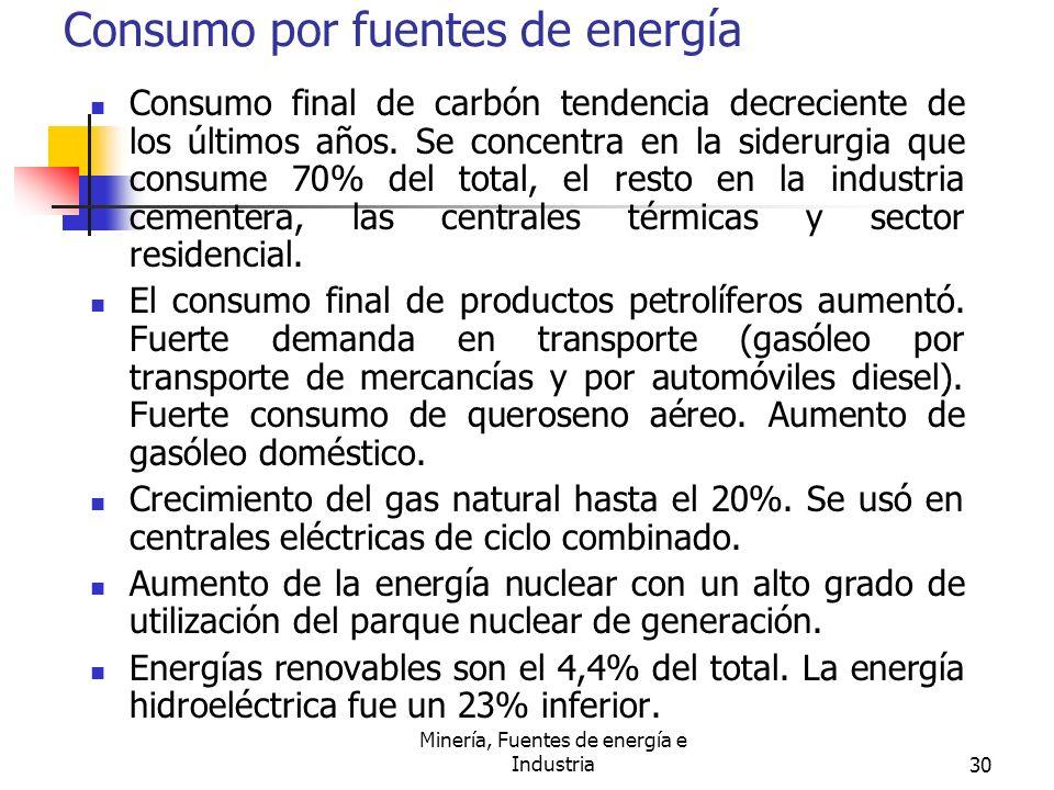 Consumo por fuentes de energía