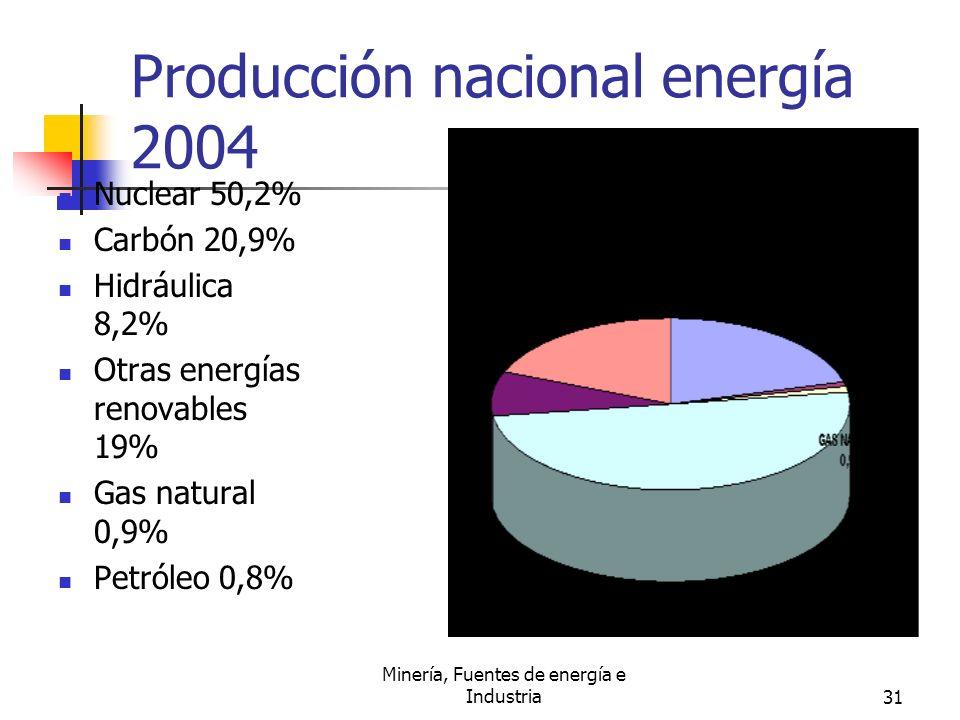Producción nacional energía 2004