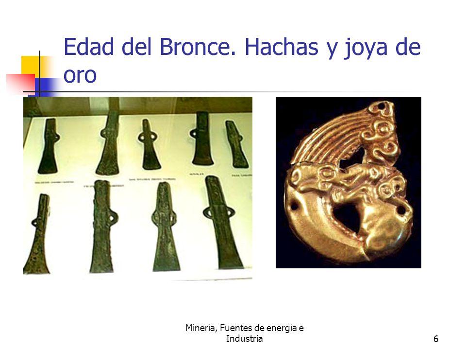 Edad del Bronce. Hachas y joya de oro