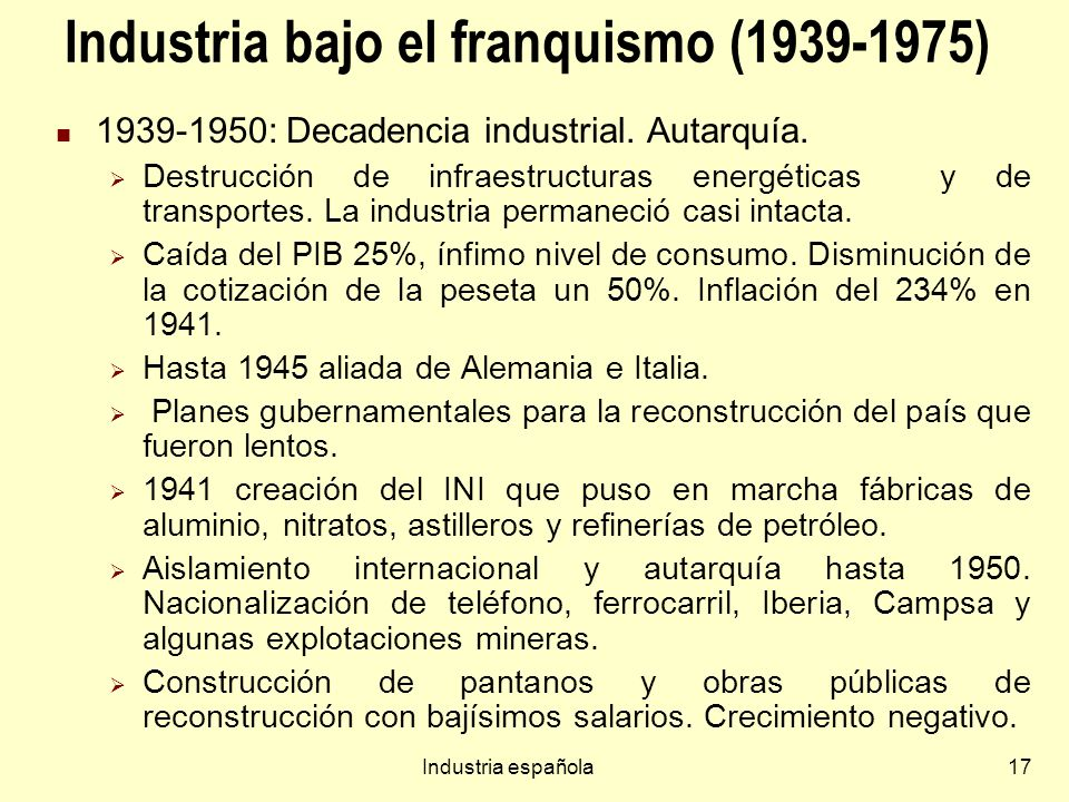 Industria bajo el franquismo (1939-1975)