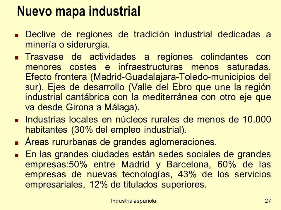 Nuevo mapa industrialDeclive de regiones de tradición industrial dedicadas a minería o siderurgia.