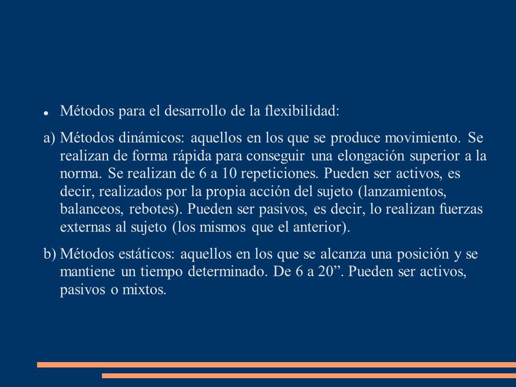 Métodos para el desarrollo de la flexibilidad: