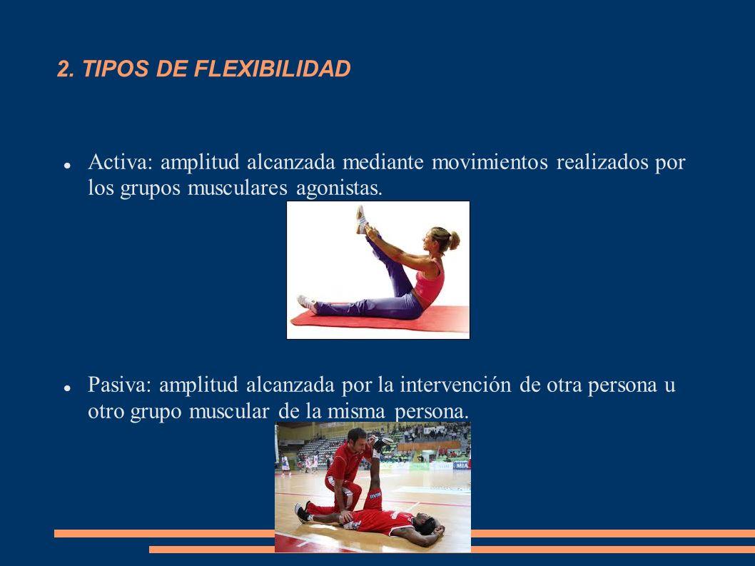 2. TIPOS DE FLEXIBILIDADActiva: amplitud alcanzada mediante movimientos realizados por los grupos musculares agonistas.
