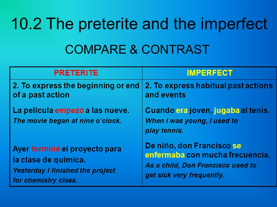 COMPARE & CONTRAST PRETERITE IMPERFECT
