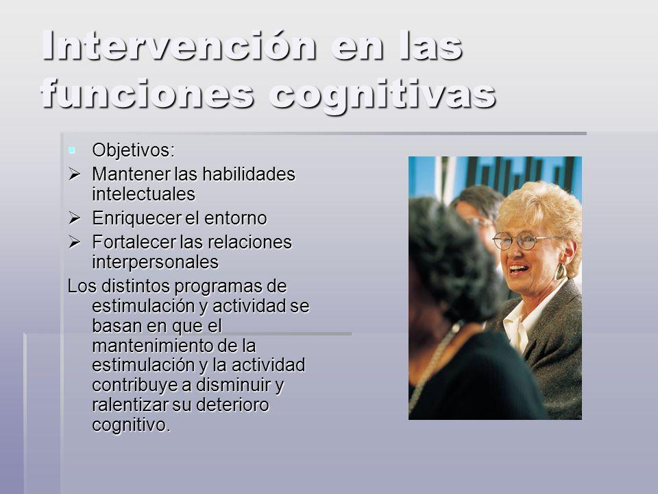 Intervención en las funciones cognitivas