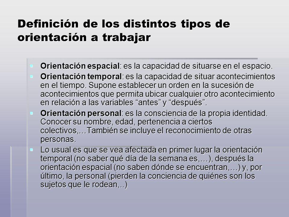 Definición de los distintos tipos de orientación a trabajar