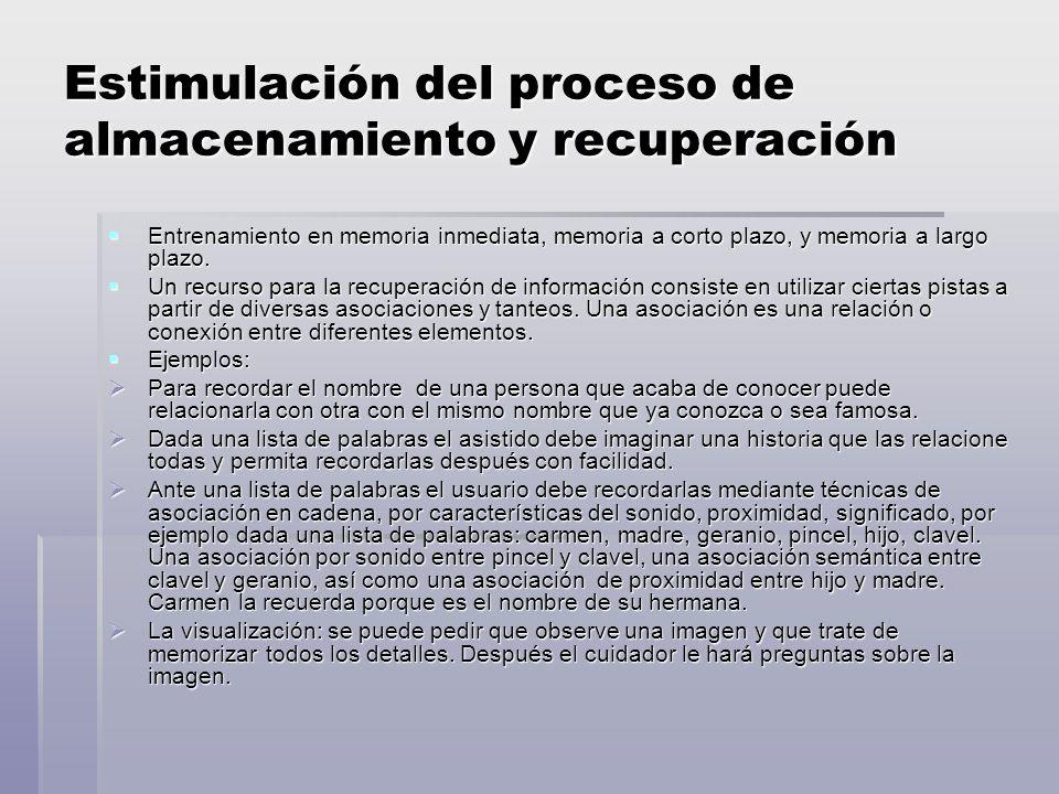 Estimulación del proceso de almacenamiento y recuperación