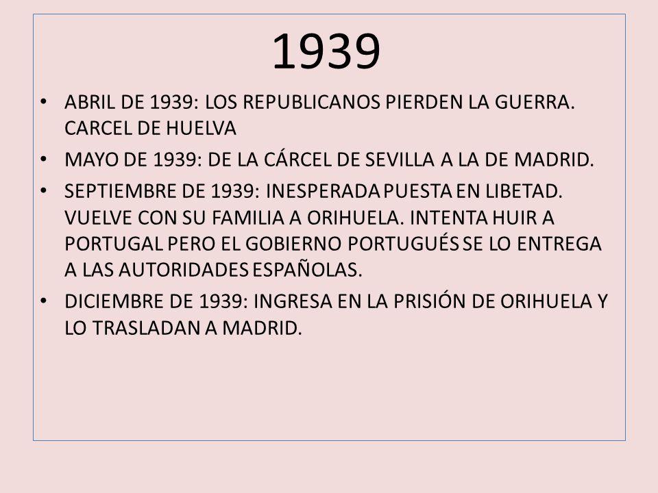 1939 ABRIL DE 1939: LOS REPUBLICANOS PIERDEN LA GUERRA. CARCEL DE HUELVA. MAYO DE 1939: DE LA CÁRCEL DE SEVILLA A LA DE MADRID.