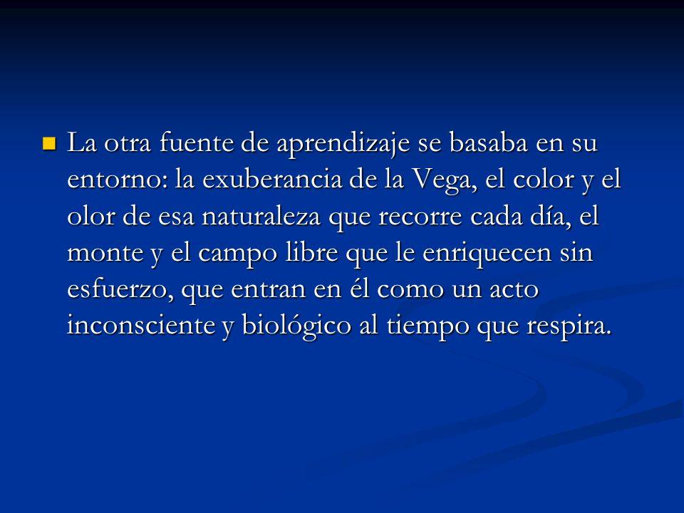 La otra fuente de aprendizaje se basaba en su entorno: la exuberancia de la Vega, el color y el olor de esa naturaleza que recorre cada día, el monte y el campo libre que le enriquecen sin esfuerzo, que entran en él como un acto inconsciente y biológico al tiempo que respira.