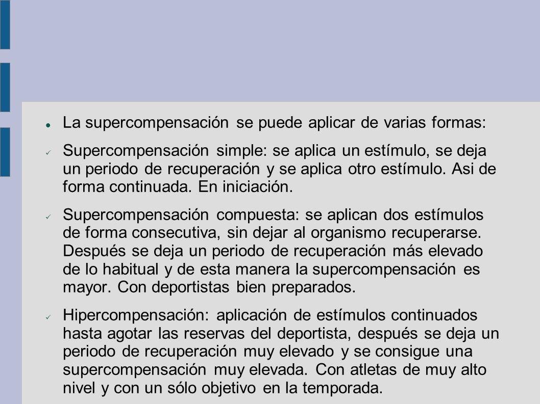 La supercompensación se puede aplicar de varias formas: