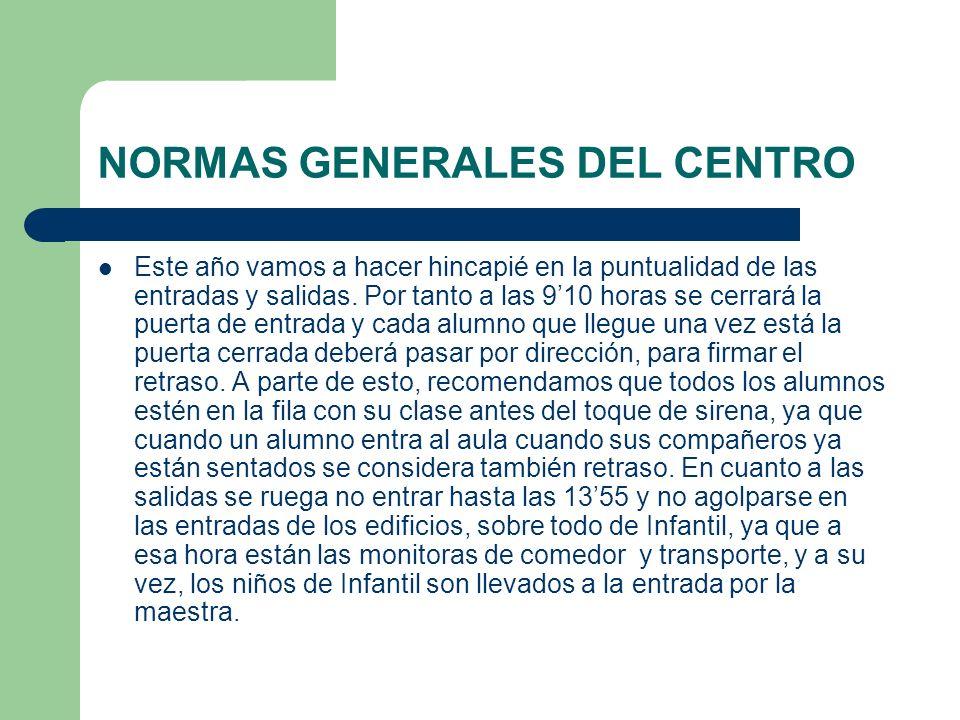 NORMAS GENERALES DEL CENTRO