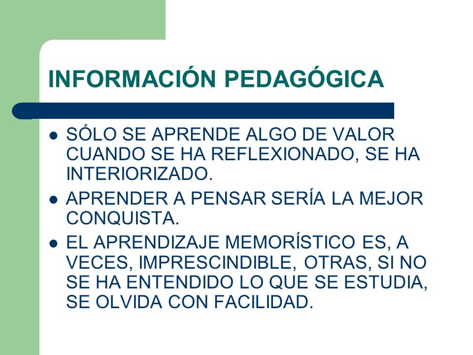 INFORMACIÓN PEDAGÓGICA