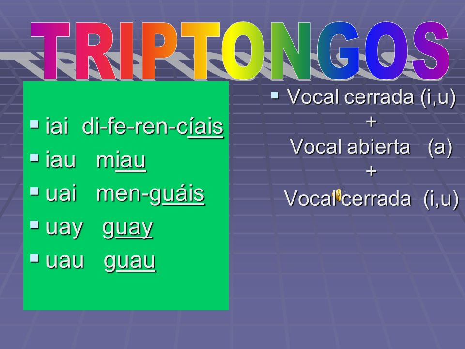 Vocal cerrada (i,u) + Vocal abierta (a) + Vocal cerrada (i,u)