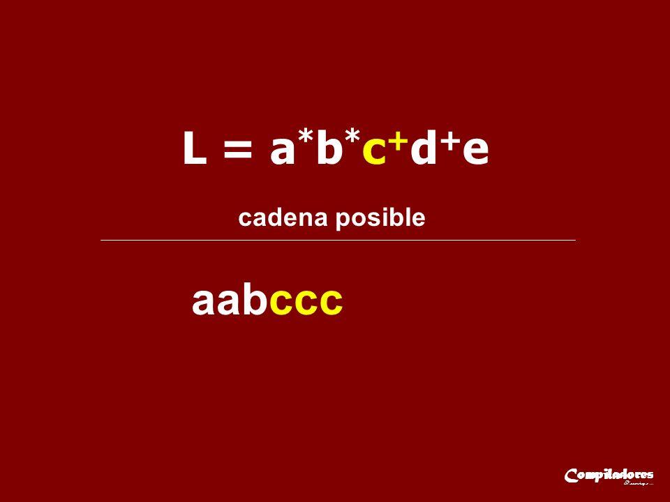 L = a*b*c+d+e cadena posible aabccc