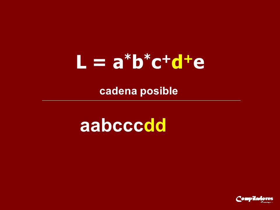 L = a*b*c+d+e cadena posible aabcccdd