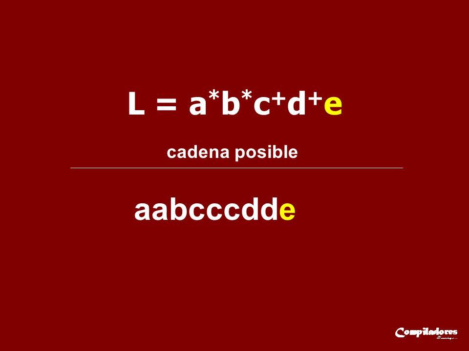 L = a*b*c+d+e cadena posible aabcccdde