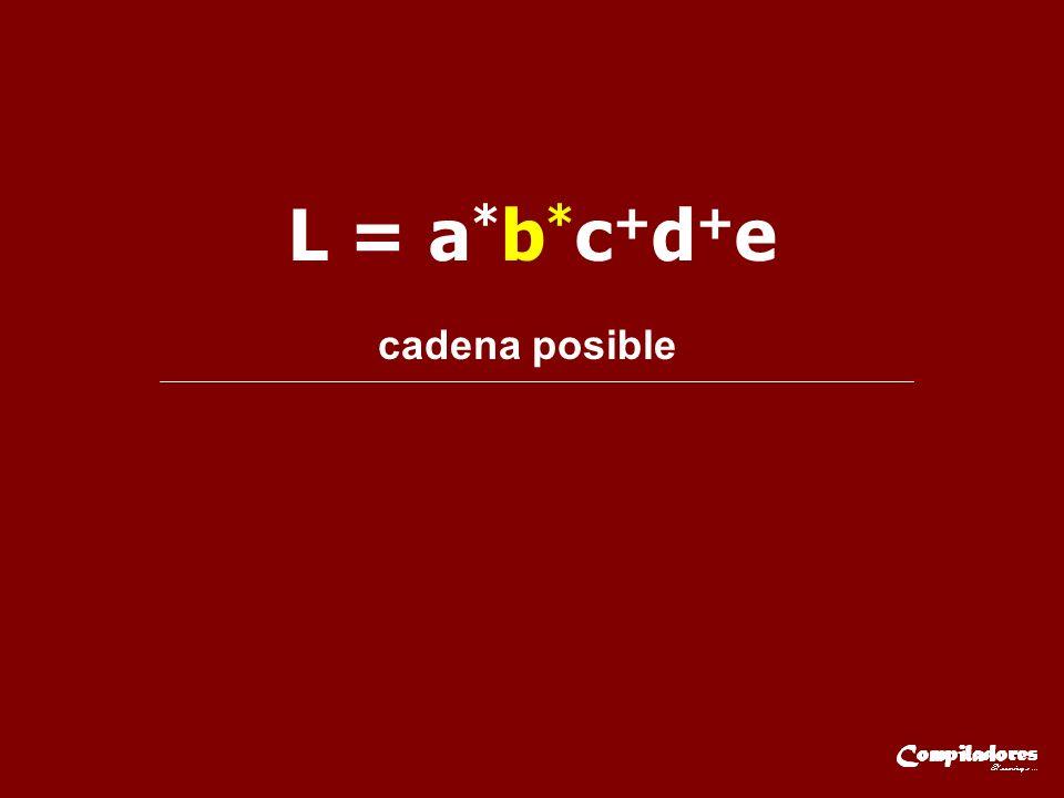 L = a*b*c+d+e cadena posible