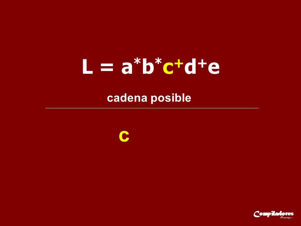 L = a*b*c+d+e cadena posible c