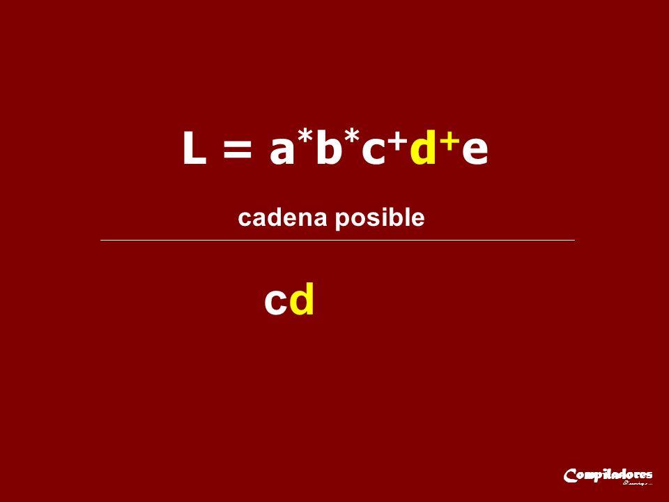 L = a*b*c+d+e cadena posible cd