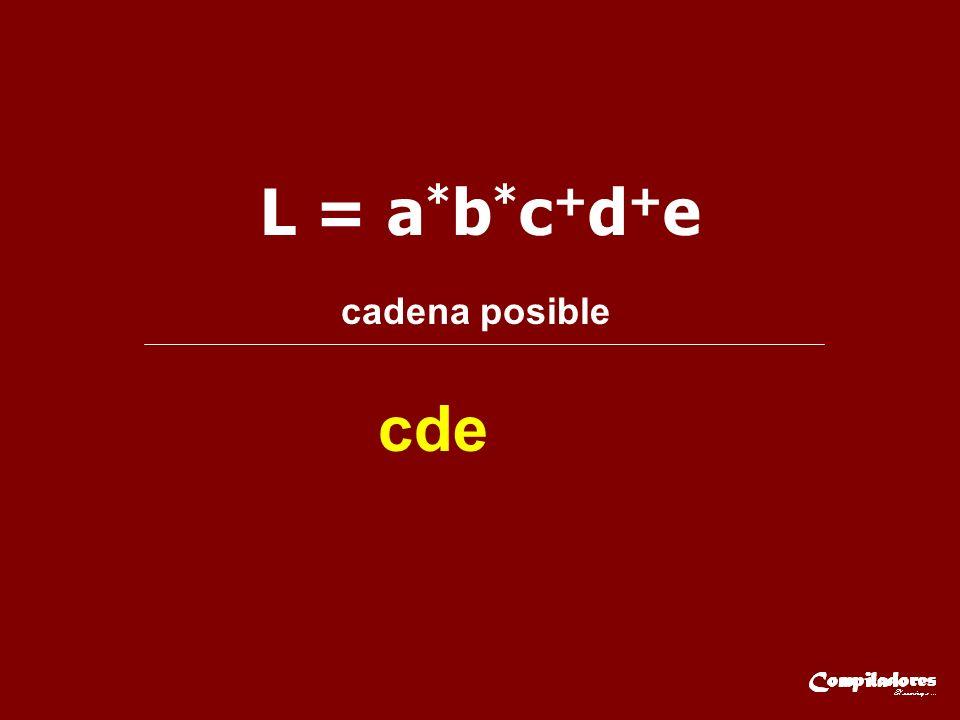 L = a*b*c+d+e cadena posible cde