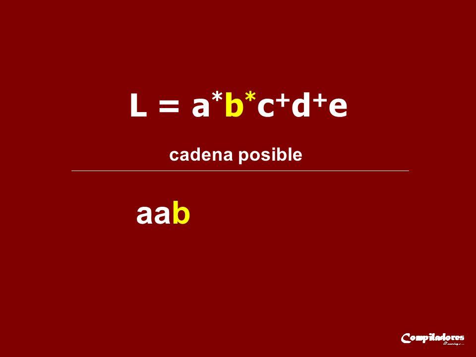 L = a*b*c+d+e cadena posible aab