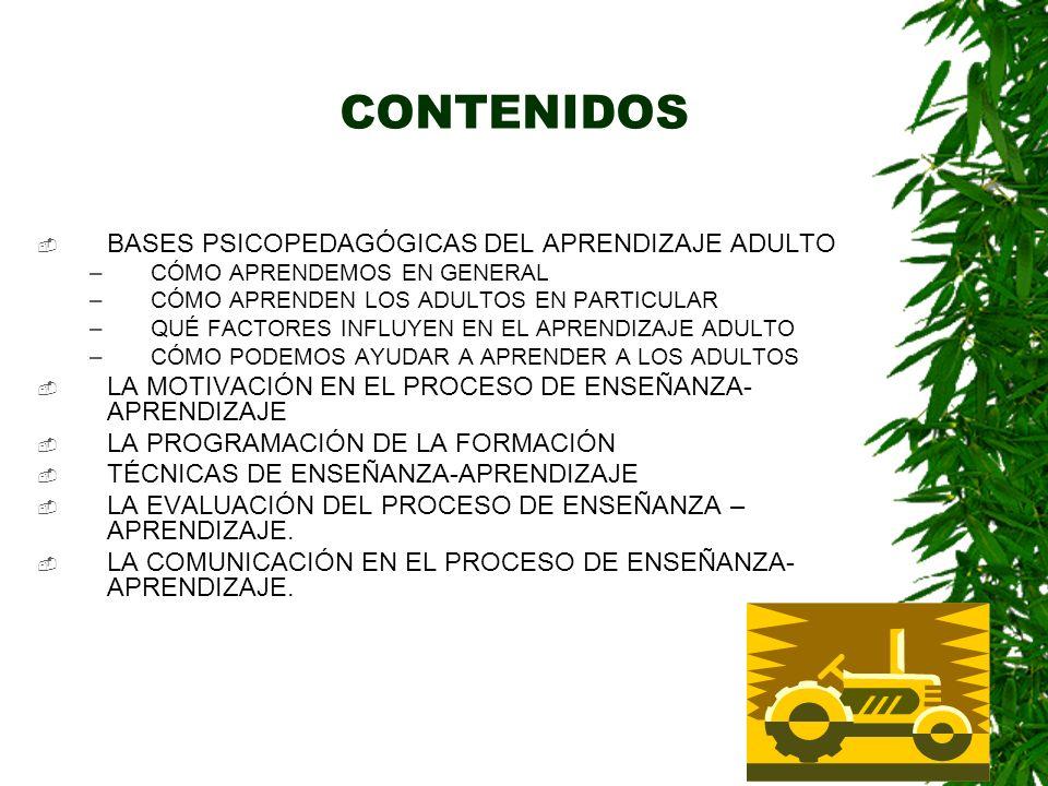 CONTENIDOS BASES PSICOPEDAGÓGICAS DEL APRENDIZAJE ADULTO