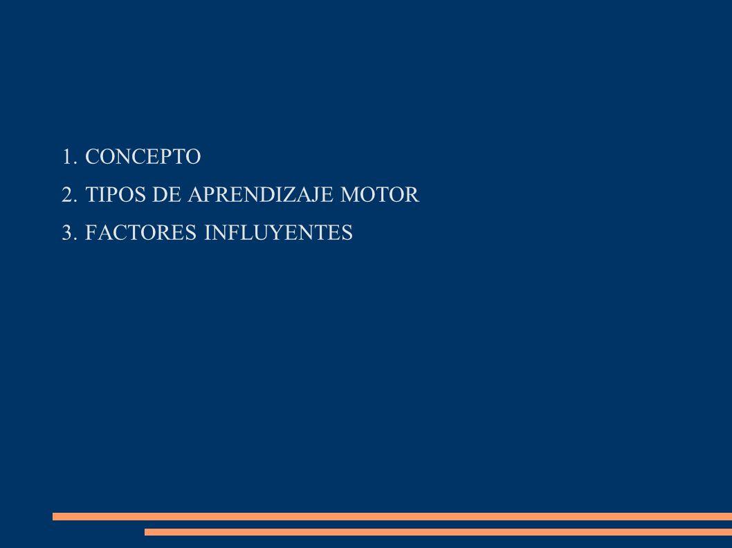 CONCEPTO TIPOS DE APRENDIZAJE MOTOR FACTORES INFLUYENTES