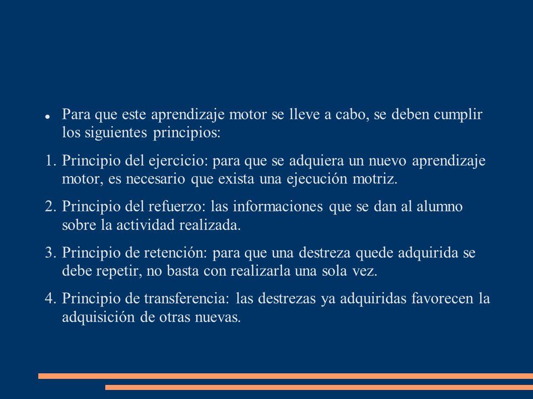 Para que este aprendizaje motor se lleve a cabo, se deben cumplir los siguientes principios: