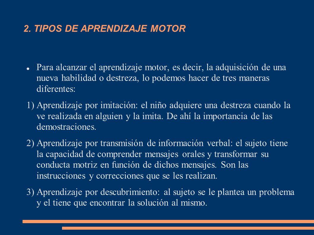2. TIPOS DE APRENDIZAJE MOTOR