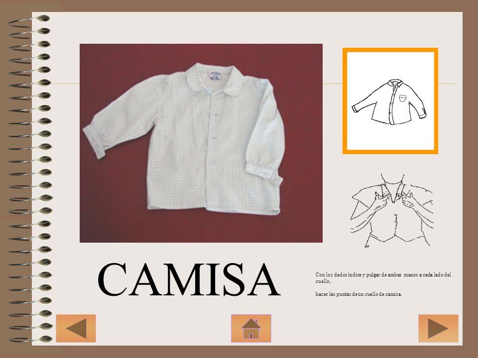 CAMISA Con los dedos índice y pulgar de ambas manos a cada lado del cuello, hacer las puntas de un cuello de camisa.