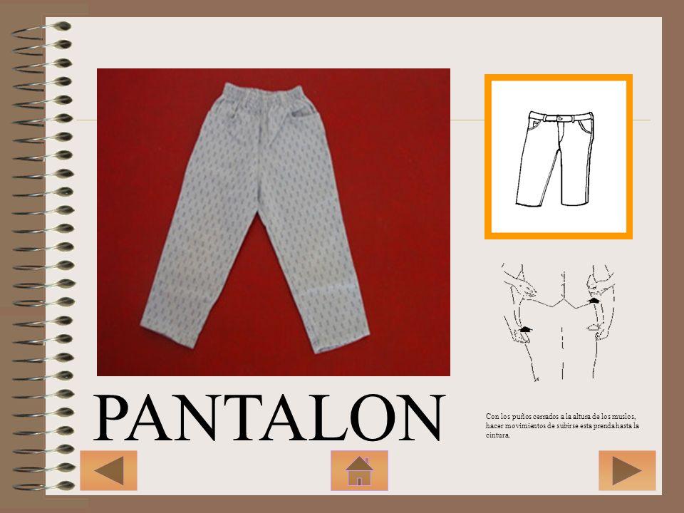 PANTALON Con los puños cerrados a la altura de los muslos, hacer movimientos de subirse esta prenda hasta la cintura.