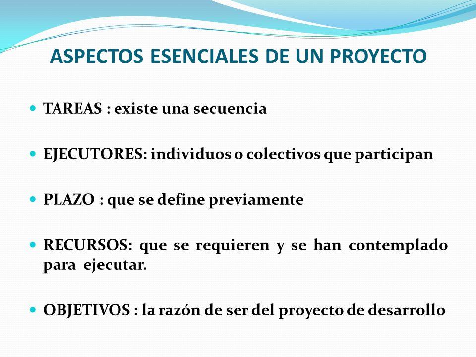 ASPECTOS ESENCIALES DE UN PROYECTO