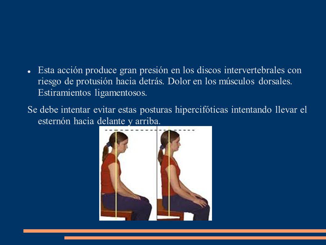 Esta acción produce gran presión en los discos intervertebrales con riesgo de protusión hacia detrás. Dolor en los músculos dorsales. Estiramientos ligamentosos.
