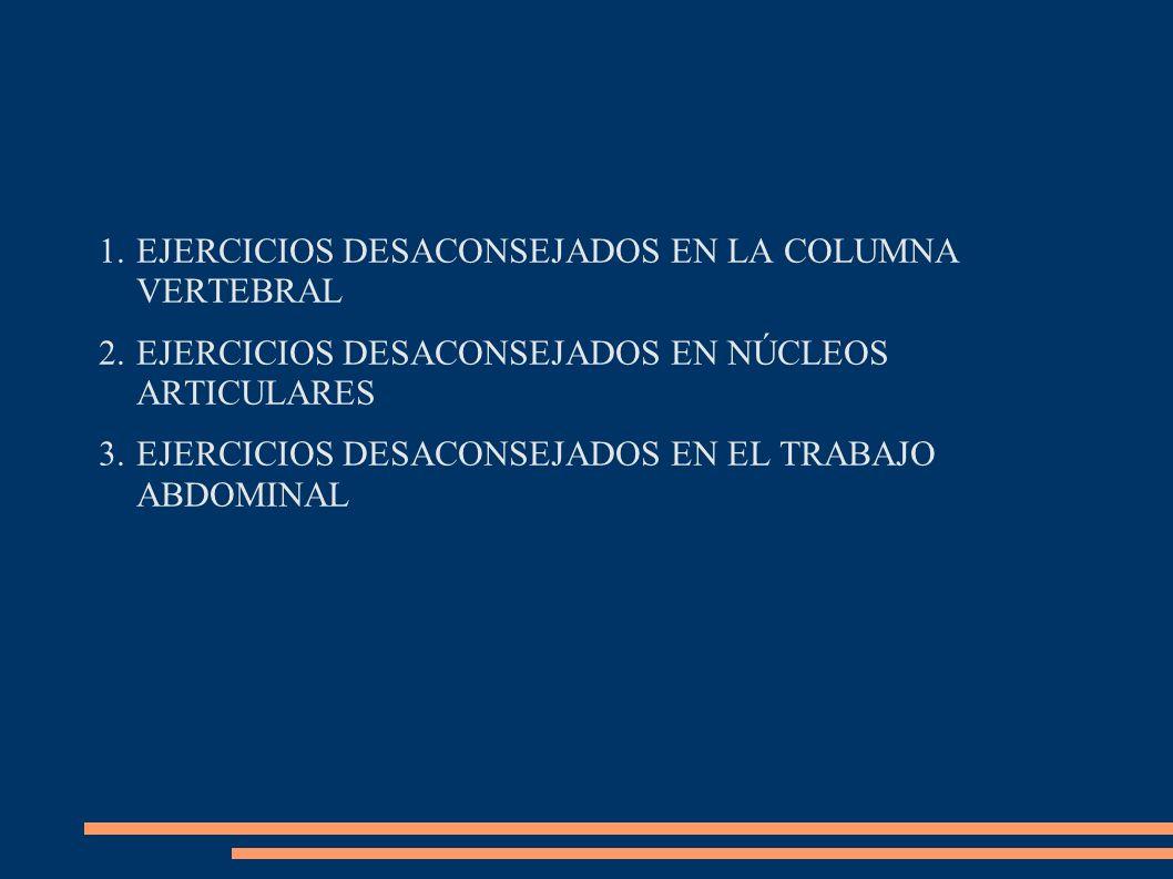 EJERCICIOS DESACONSEJADOS EN LA COLUMNA VERTEBRAL