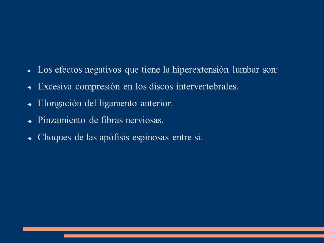 Los efectos negativos que tiene la hiperextensión lumbar son: