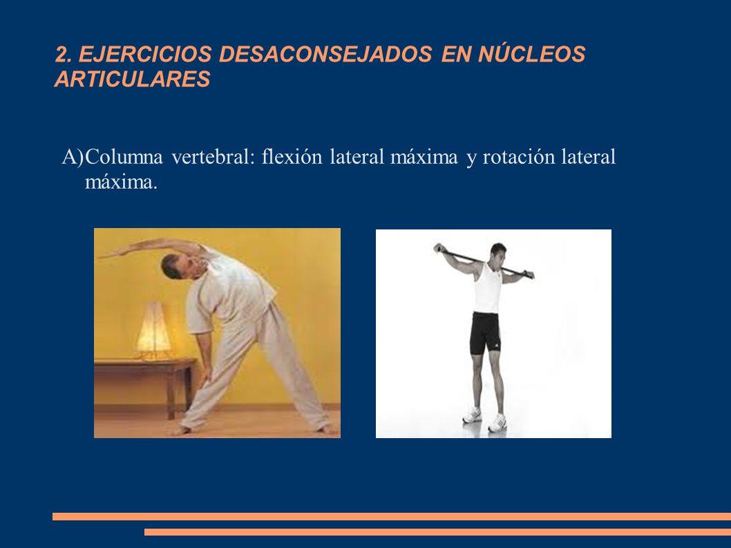 2. EJERCICIOS DESACONSEJADOS EN NÚCLEOS ARTICULARES